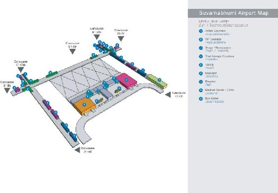 План-схема первого этажа аэропорта г. Бангкок: автобусные остановки, туалеты, медпункт