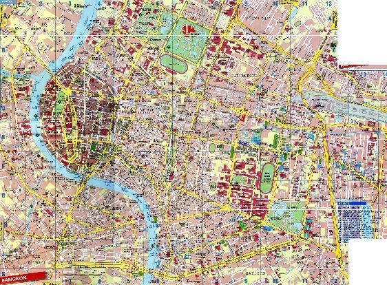 Подробная карта Бангкока с улицами, районами и инфраструктурой