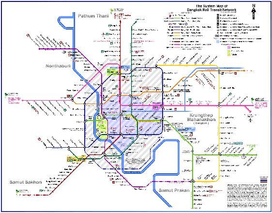 Подробная схема метрополитена Бангкока