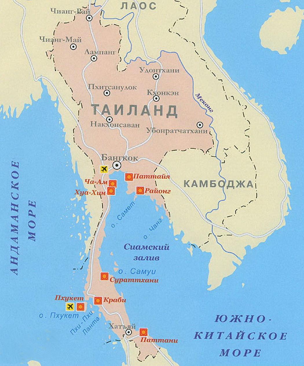 Тайланд где находится карта