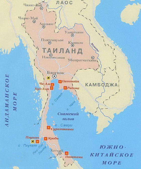 Бангкок на карте Тайланда
