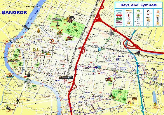 Туристическая карта с достопримечательностями Бангкока