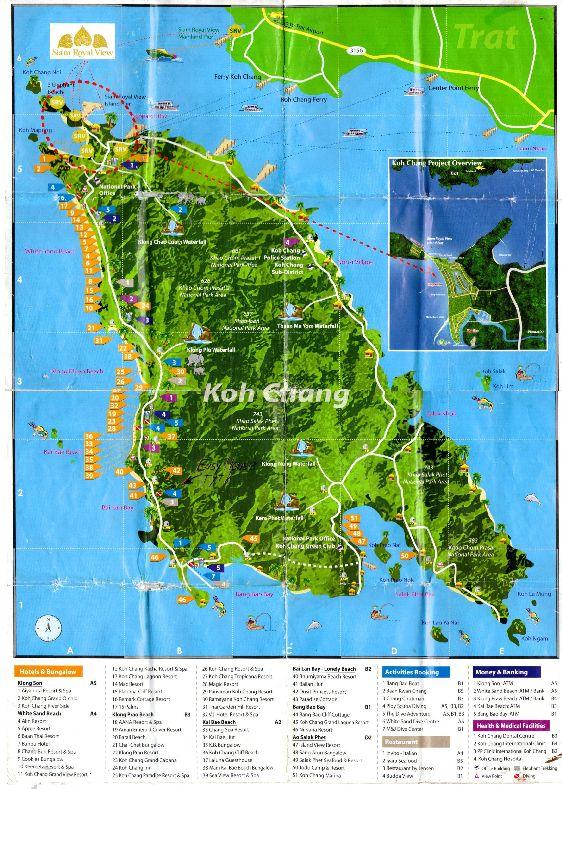 Подробная карта о. Ко Чанг