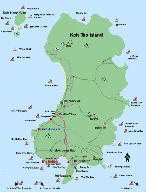На этой карте отмечены основные бухты и дайв-сайты острова Ко Тао