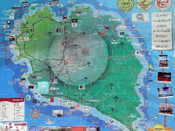 Художественная карта Ко Пханган с достопримечательностями