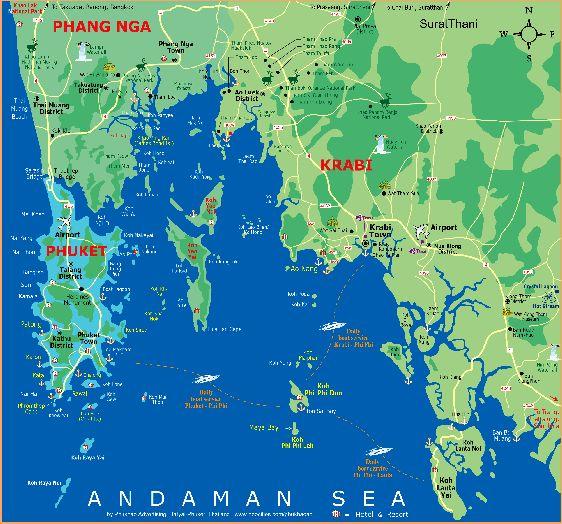 Карта Пхукета, окружающих его островов и провинции Краби