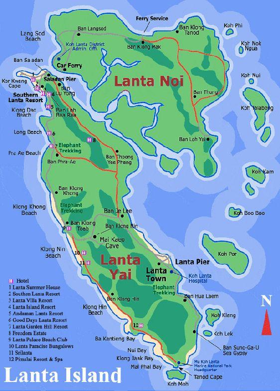 Туристическая карта архипелага Ланта с обозначением всех курортов