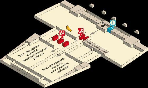 Схема третьего этажа аэропорта Краби: стойки регистрации, паспортный контроль, информационное бюро, залы ожидания внутренних и международных рейсов