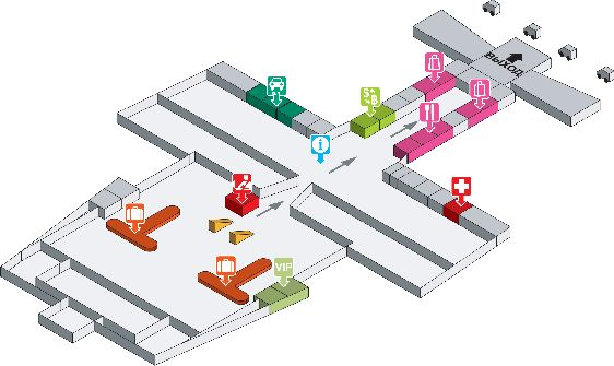 Первый этаж аэропорта Краби: зал прибытия, кафе, аптечный пункт, офисы рентных компаний, стойки бронирования отелей