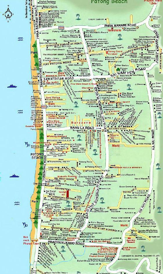 Схематическая карта пляжа Патонг с отелями, ресторанами, барами, развлекательными центрами и прочей инфраструктурой