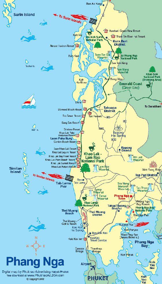 Карта Пханг Нга: достопримечательности, пляжи, бухты, заливы