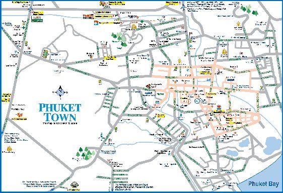 Подробная карта Пхукет-Тауна с дорожной развязкой и городской инфраструктурой