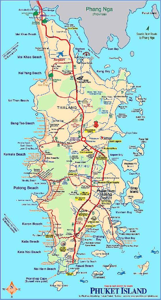 Карта Пхукета с местами развлечений, пляжами, природными памятками и др.