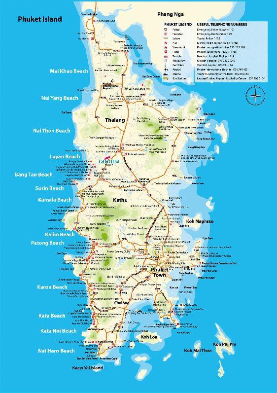 Карта Пхукета с указанием всех пляжей