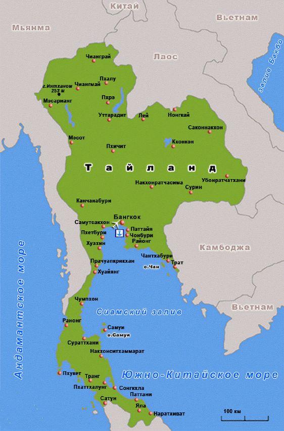 Самуи на карте Тайланда