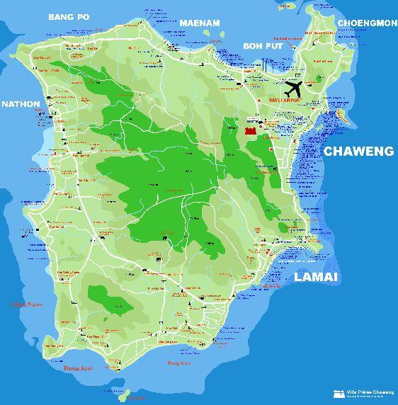 Карта с перечнем всех пляжей Самуи
