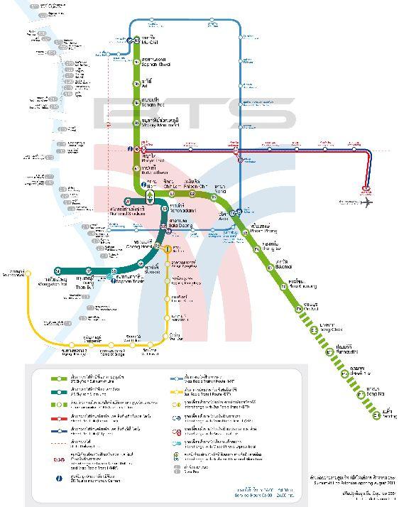 Ещё одна схема метро г. Бангкок: здесь красными и тёмно-синими линиями обозначены ветки метро из аэропорта Суварнабхуми, жёлтая ветка довозит до станции Пхайя Тхайметро без остановок за 17 мин., Скайтреин обозначено синей и зелёной линиями, пересекающимися на станции Siam