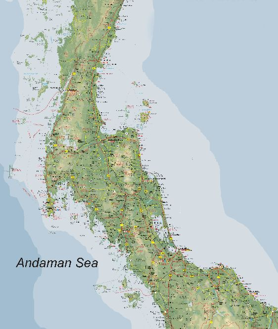Карта южных провинций Тайланда с островом Самуи
