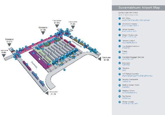 Схема четвёртого этажа аэропорта г. Бангкок: зоны вылета для пассажиров внутренних и международных рейсов
