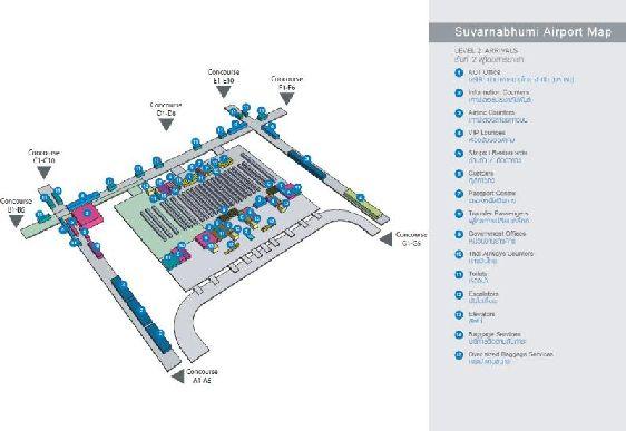 Схема второго этажа аэропорта ''Suvarnabhumi'': зоны прибытия, паспортный контроль, Duty Free, рестораны, кафе и др.