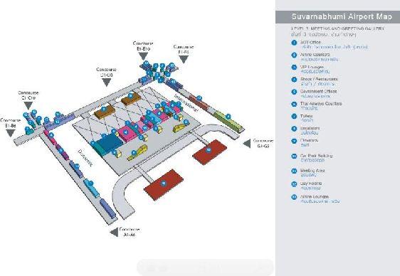 Карта третьего этажа аэропорта ''Suvarnabhumi'': залы ожидания, магазины, рестораны, службы охрана порядка