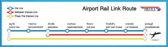 Карта-схема электричек Airport Rail Link